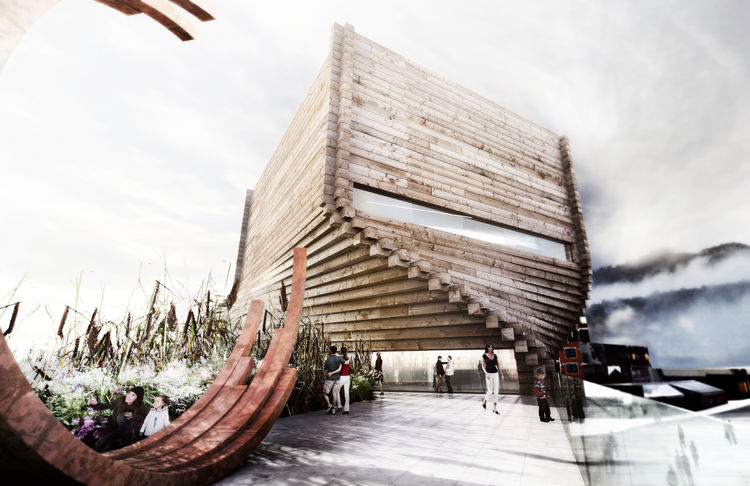 Here's a look at what the tall structure would look like from a terrace atop the existing building. The wooden facade is a nod back to the origins of this 1860s mining town, though its form is hardly nostalgic.  <br /><br /><p><em><strong>Don't miss a wor