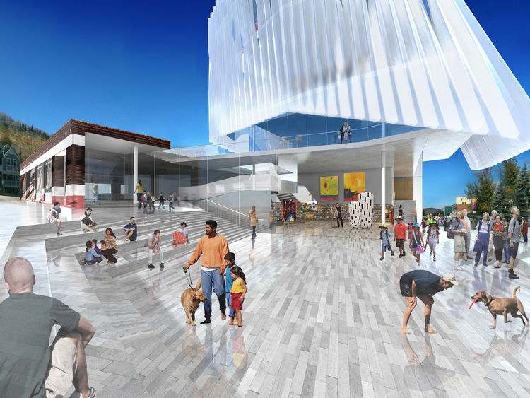 This entry from the L.A. firm Brooks and Scarpa has a lot going for it, namely the hovering white form to be made of polypropylene. It's meant to evoke the clouds of the Utah sky, but what grabs me most is the big public plaza at Main and Heber. It's the