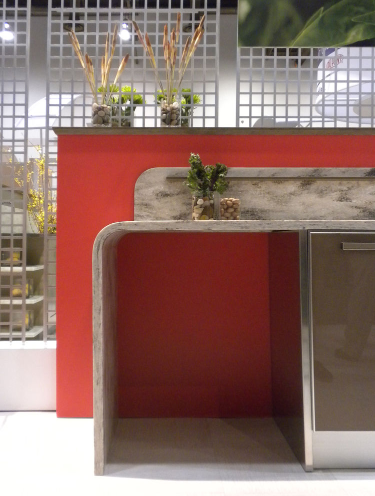 """One of my favorite booths this year was by <a href=""""http://www2.dupont.com/DuPont_Home/en_US/index.html"""">DuPont</a>. Rather than displaying panels of their new surfaces, the company featured a series of vignettes featuring its Corian and Zodiaq materials."""