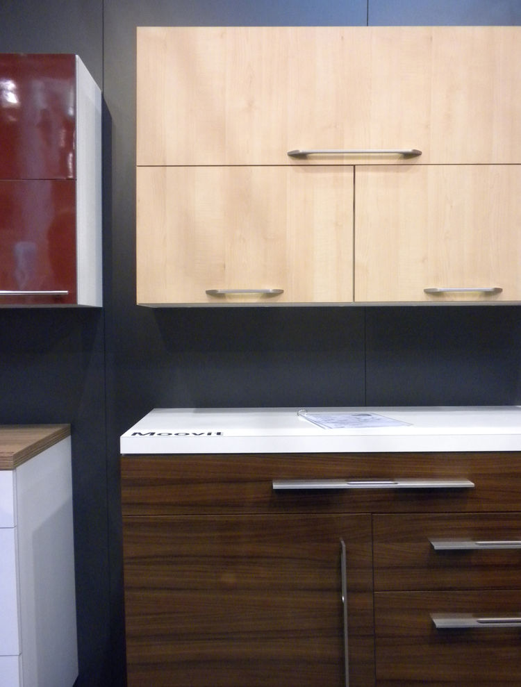 """Many of the kitchens in our special <i>100 Kitchens We Love</i> issue featured products from <a href=""""http://www.hafele.com/us/"""">Hafele</a>. We swung through the booth to see its wares on display, such as the Moovit Double-Wall Drawer System shown here."""