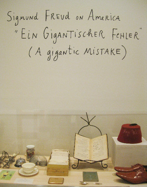 Alongside her work, loads of Kalman's collected ephemera is on display as part of Maira Kalman Various Illuminations (Of a Crazy World). It contains just the kind of objects she loves to paint, from a pair of Junya Watanabe shoes to a vintage fez to a box