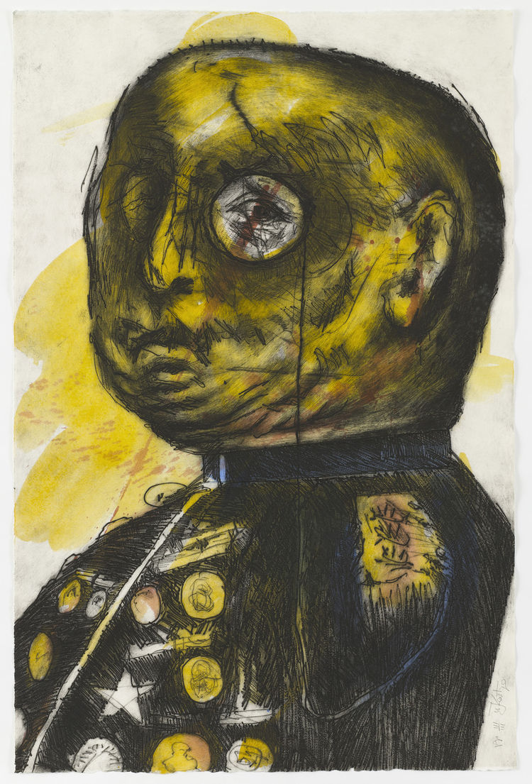 "William Kentridge (South African, born 1955). <i>General</i>. 1993 (published 1998). Engraving and watercolor, sheet: 47 5/8"" × 31 7/16"". Image courtesy MoMA."
