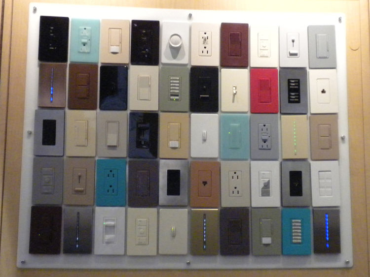 "<a href=""http://www.lutron.com/"">Lutron</a> displayed its variety of lighting systems and products, from LED dimmers to colorful plug plates. The plates are available in over 24 colors."