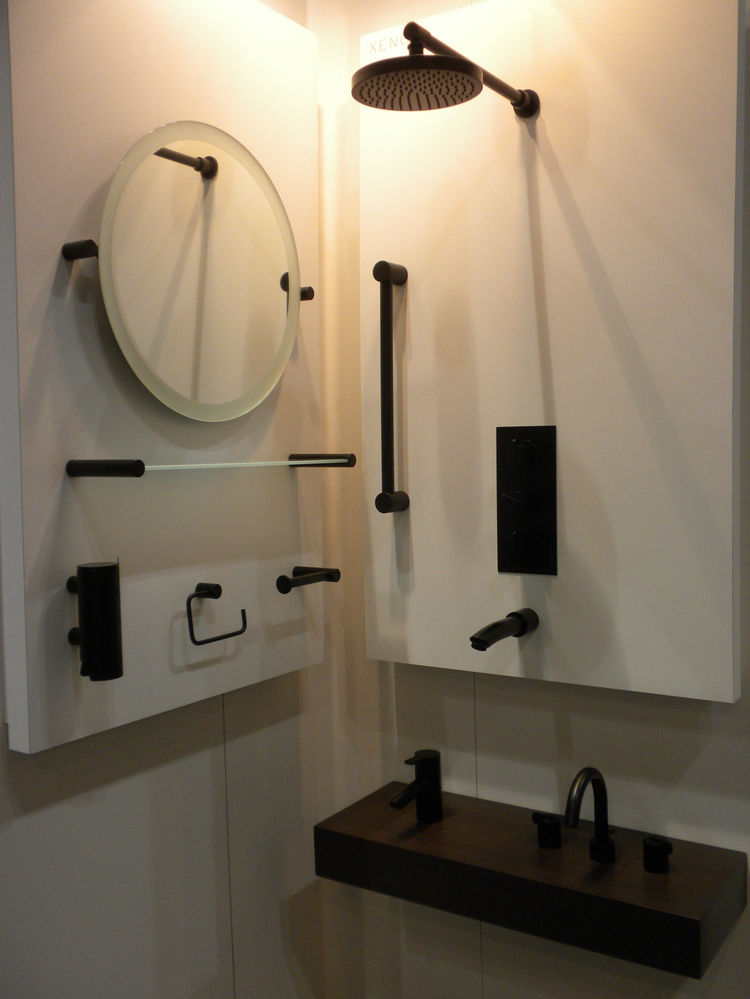 "The all-black Xenon bathroom collection by <a href=""http://www.samuel-heath.com/"">Samuel Heath</a> stopped many a passerby."