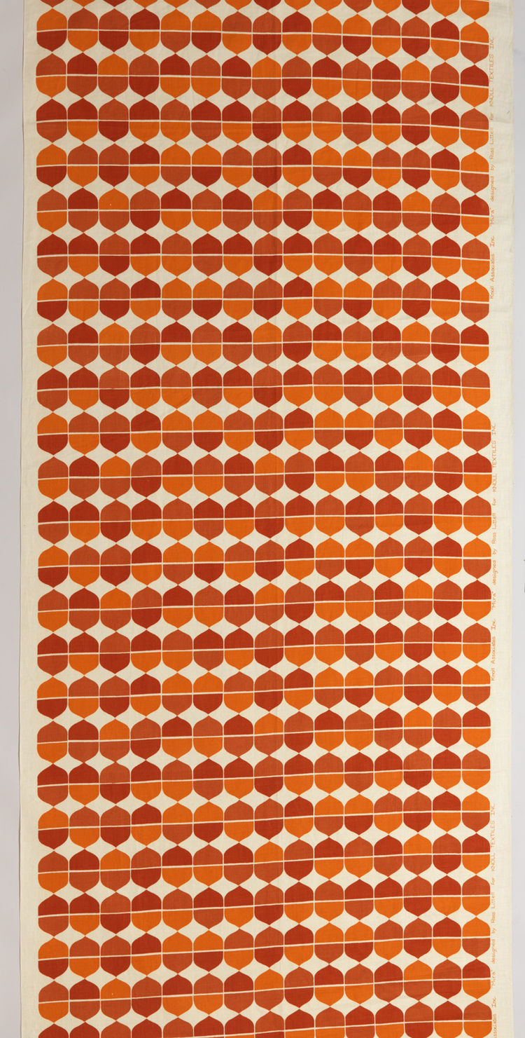 American furniture and textile designer Ross Littell worked with Knoll through the 1950s and 60s, after which he moved to Denmark then Copenhagen to collaborate with well-known European manufacturers. His linen, screen-printed textile Mira was introduced