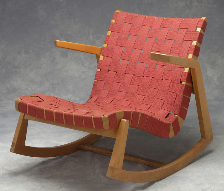 "Knoll introduced webbing into its chairs in the 1940s. Seen here is Marianne Strengell's Pebble-Weave webbing on a Ralph Rapson rocking chair. ""Materials were scarce and wartime restrictions meant Knoll had to come up with innovative solutions,"" Makovsky"