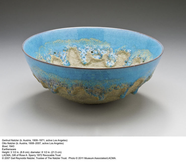This earthenware bowl is by the Austrian-born team of Gertrude and Otto Natzler. It's from 1943.