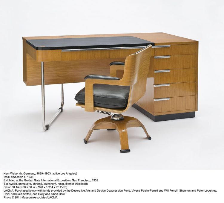 Kem Weber's 1939 desk and chair were shown at the Golden Gate International Exhibition in San Francisco in 1939.