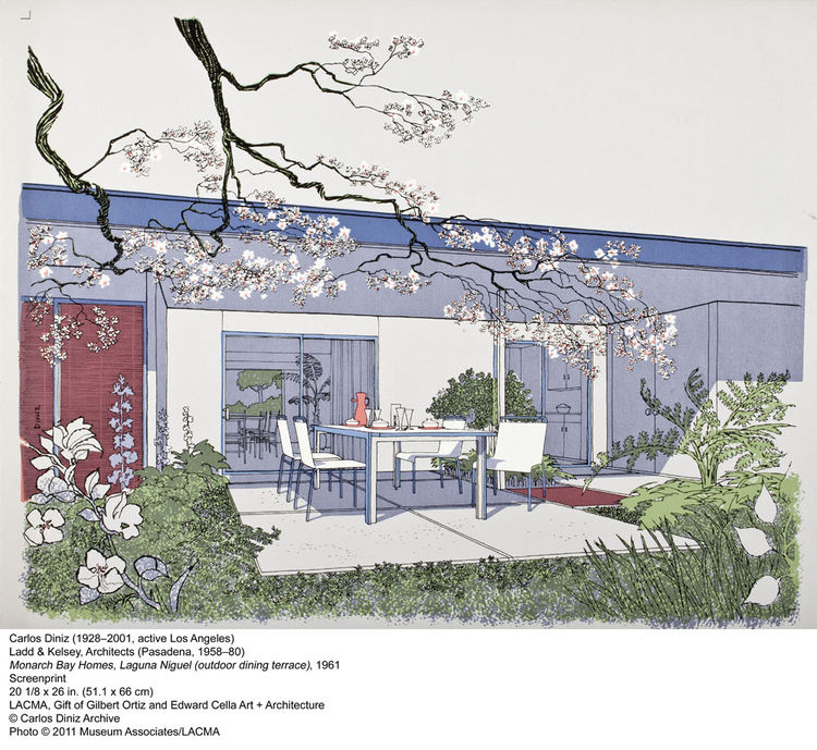 One of the great undersung disseminators of modernism was draftsman, illustrator, and renderer Carlos Diniz. This drawing of a home in Monarch Bay by Ladd and Kelsey Architects in Laguna Nigel is classic Diniz and is as good an ad for California at the st