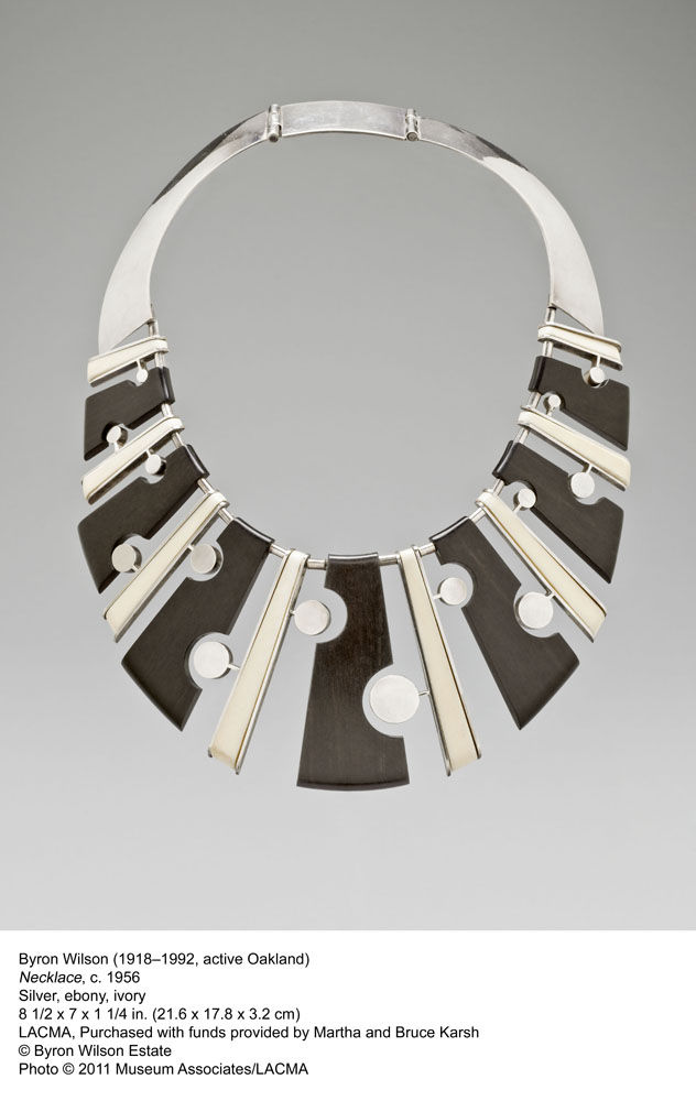 Byron Wilson's silver, ebony, and ivory necklace from 1956 shows how modern design worked its way into jewelery as well.