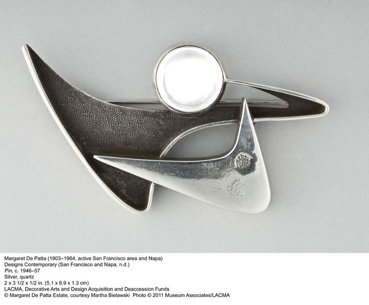 Margaret De Patta's highly abstract brooch in silver and quartz hails from the late 40s or 50s.