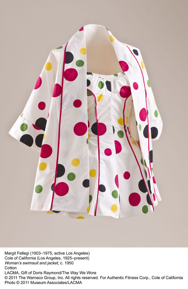 "Bold dots and a matching jacket make this swimsuit by Margit Fellegi from about 1950 a poolside stunner.<br /><br /><p><em><strong>Don't miss a word of Dwell! Download our </strong></em><a href=""http://itunes.apple.com/us/app/dwell/id411793747?mt=8""><em><"