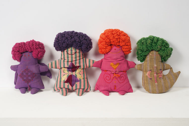 "Group of four handmade dolls by Marilyn Neuhart. Made circa 1961-65 for Alexander Girard's ""Textiles & Objects"" store."
