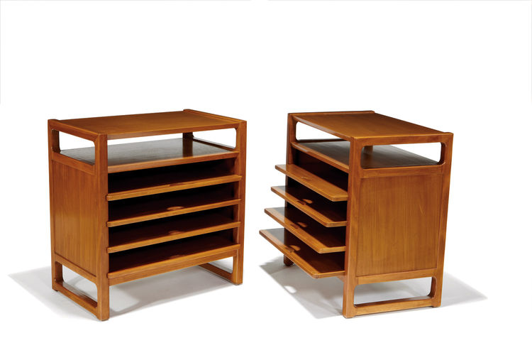 Pair of Edward Wormley side tables with sliding shelves, designed circa 1947 for Drexel.