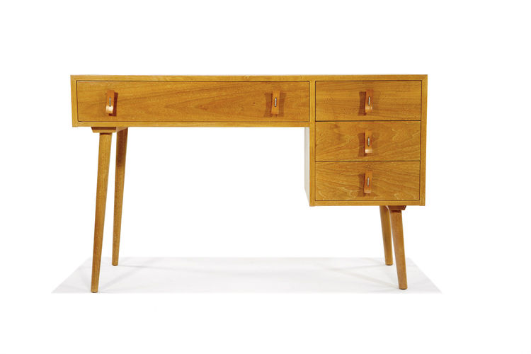 A beautiful Stanley Young desk, dresser, and chest of drawers (sold as a suite). Designed for Glenn of California, circa 1951.