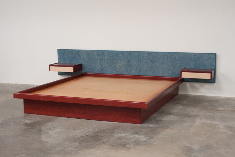 Ettore Sottsass Bed with attached cantilevered side table. Custom designed in 1984 for L.A. tech pioneer and Sotsass champion Max Palevsky.