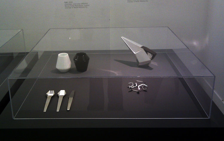 "Feichtner's angular teapot, bracelet, and cutlery design called ""Cutt.""<br /><br /><p><em><strong>Don't miss a word of Dwell! Download our </strong></em><a href=""http://itunes.apple.com/us/app/dwell/id411793747?mt=8""><em><strong> FREE app from iTunes</str"