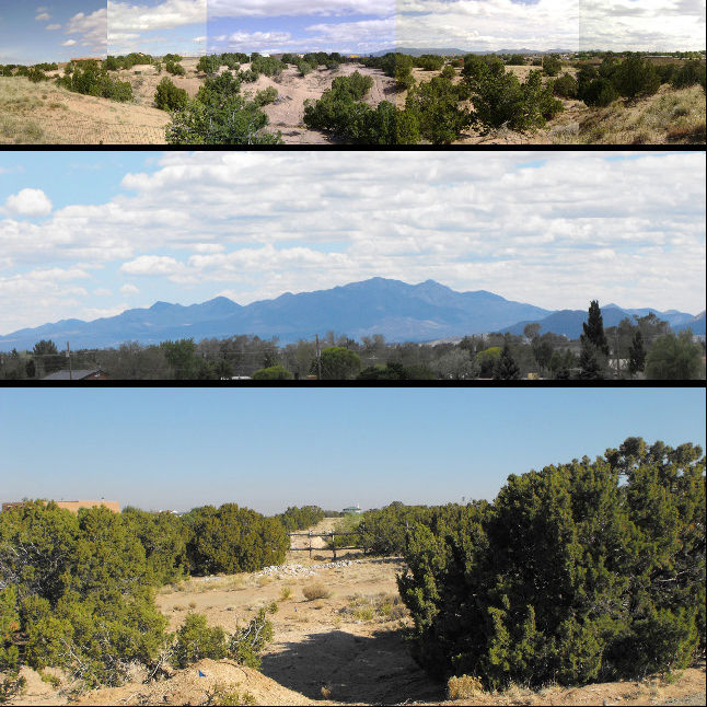 Apart from a potentially collaborative neighborhood, the site also offered great views. But even as Eade took this shot, from the porch of a neighbor's house, he noticed the bald patches of dirt between the juniper and pinon trees: evidence of erosion.