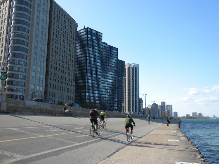 The 860-880 Lake Shore Drive Apartments by Mies van der Rohe, as seen from Chicago's Lakefront Trail.
