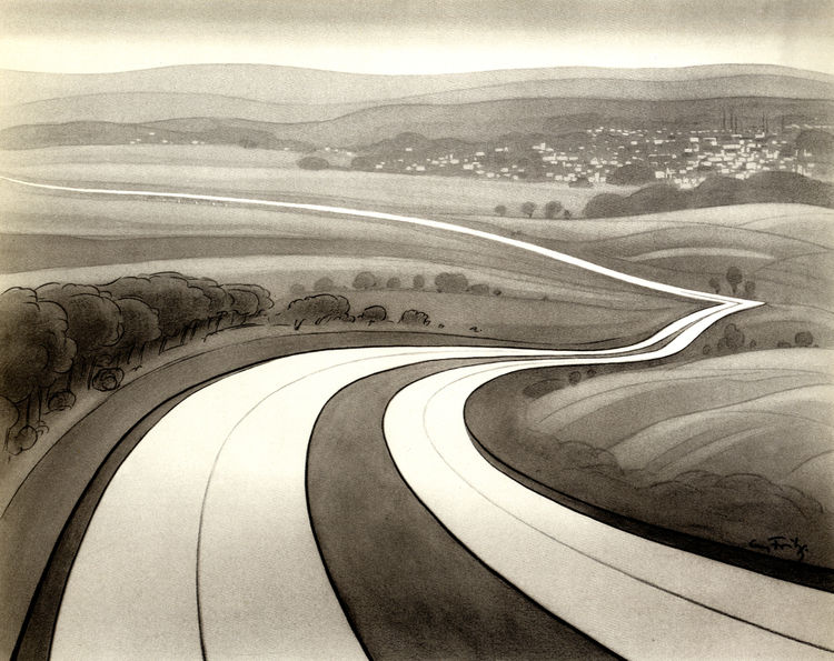 This drawing, first published by Georg Fritz in 1939, imagines all the sinewy velocity of the coming highway. Like a streak, the modern new road would cut through the countryside allowing the free movement of citizen. The artist? Adolf Hitler.