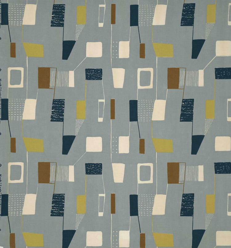 "Lapis, (detail), 1953. Lucienne Day. Manufactured by Heal Fabrics. Jill A. Wiltse and H. Kirk Brown III Collection of British Textiles. On display at the Textile Museum in Washington, DC, May 15-September 12, 2010, as part of the exhibit <i><a href=""http:"