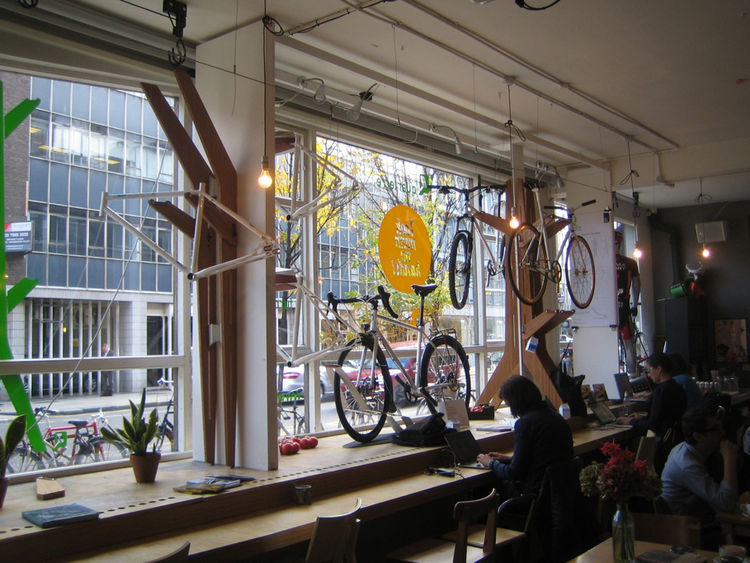 "Next up was the bike shop <a href=""http://www.lookmumnohands.com/"">Look Mum No Hands</a>, which was showing three new bike storage solutions by Quadterre. You can see each of them, idea for hanging bikes inside, in this photo."