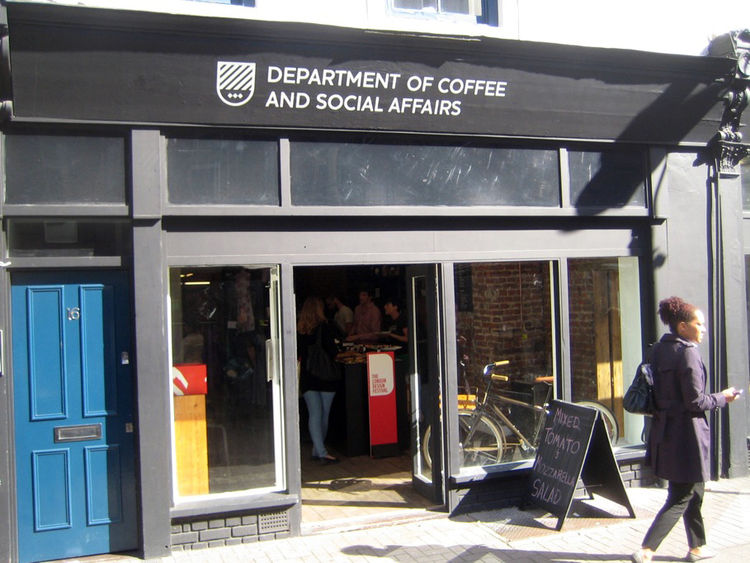 "I started the day on Leather Lane to see an exhibit of photos at the <a href=""http://www.departmentofcoffee.co.uk/"">Department of Coffee and Social Affairs</a>, a charming cafe, to see a group of photos called Imagined Cities curated by <a href=""http://ww"