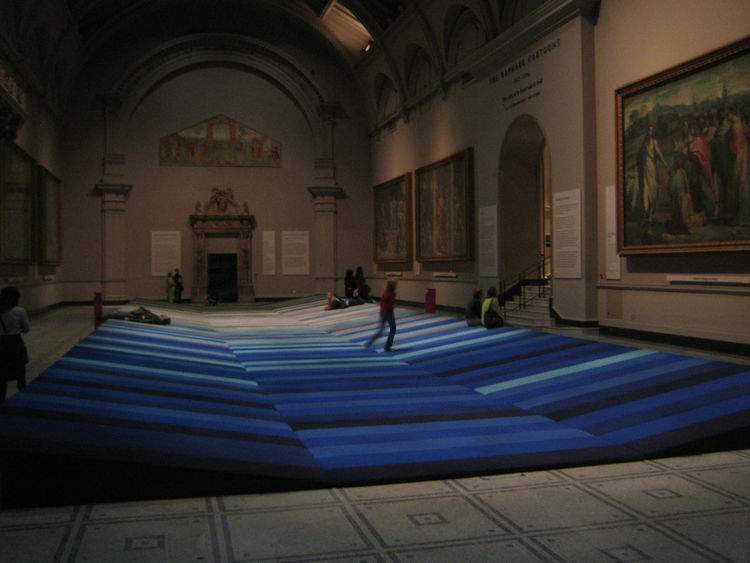 "One the best things I saw all day was in the Raphael Cartoon room at the V&A, a giant gallery housing Raphael's depictions of the Acts of St. Peter and St. Paul. On the floor of the gallery was a series of textile-covered panels the <a href=""http://www.bo"