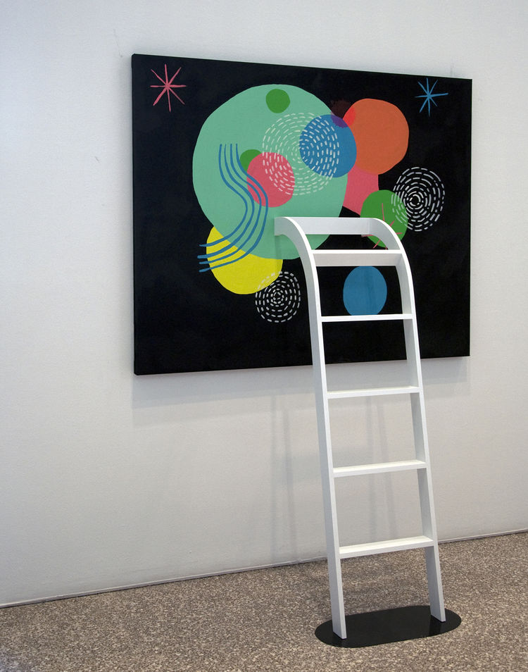 "A ladder protrudes out of (or climbs up to) a painting by Perry as part of <a href=""http://www.dwell.com/events/lost-in-the-discovery-of-what-shapes-the-mind-.html""><i>Lost in the Discovery of What Shapes the Mind</i></a>, opening March 26 and on display"