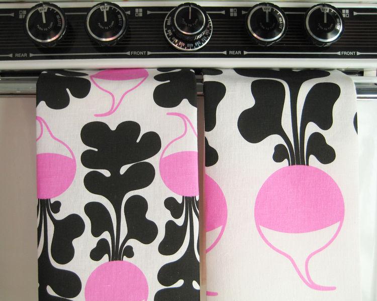 Set of two kitchen tea towels, radish pattern, by Lotta Kühlhorn
