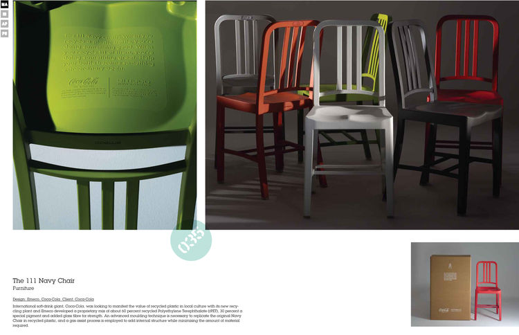 "Emeco recently collaborated with the Coca-Cola Company to produce the 111 Navy Chair. Each chair is made with the recycled material from 111 plastic bottles. Watch our <a href=""http://www.dwell.com/slideshows/Emecos-111-Navy-Chair.html"">slideshow</a> from"