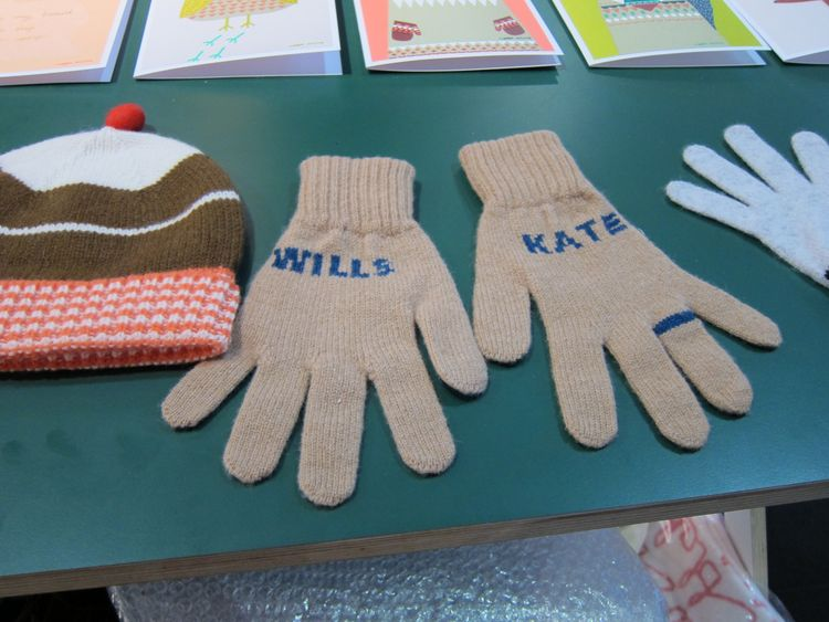 """Riding the royal wedding frenzy, Wilson created these lambswool gloves, which she describes as a """"not so tacky souvenir of the royal engagement."""""""