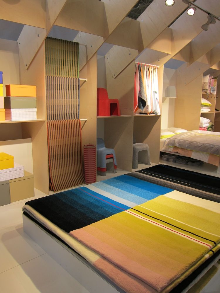 From there I wandered over to HAY, a good-looking booth full of brightly hued wares like this aptly named Colour Carpet by Dutch designers Scholten & Baijings.