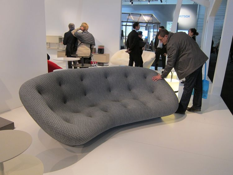 The Bouroullec's 'Ploum' sofa was a huge hit—everyone who walked by seemed magnetically drawn to it, bending down to touch it or flopping down for a cushiony rest. It comes in both a loveseat and sofa size, and it's completely upholstered, even the feet.