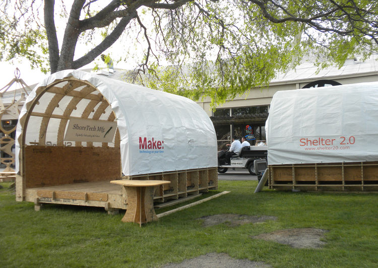 "These curved-roof structures are the first of an envisioned series of <a href=""http://makerspace.com"">Makerspaces</a>. Developed by Robert Bridges and Bill Young, of <a href=""http://www.shopbottools.com/"">ShopBot</a>, a Makerspace is a place, perhaps in a"