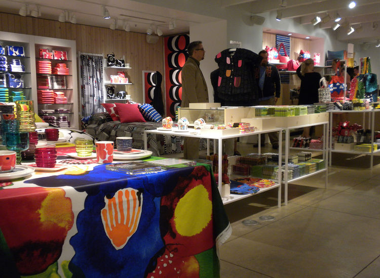 The Marimekko shop-in-a-shop is located on the second floor of the downtown San Francisco Crate & barrel. Items for sale range from tableware to bedding, bath linens, totes, napkins, notebooks, and more.