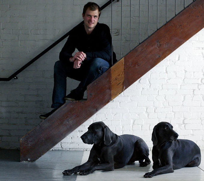 Kansas City, Missouri, architect Matthew Hufft with his dogs, Blue and Coltrane.