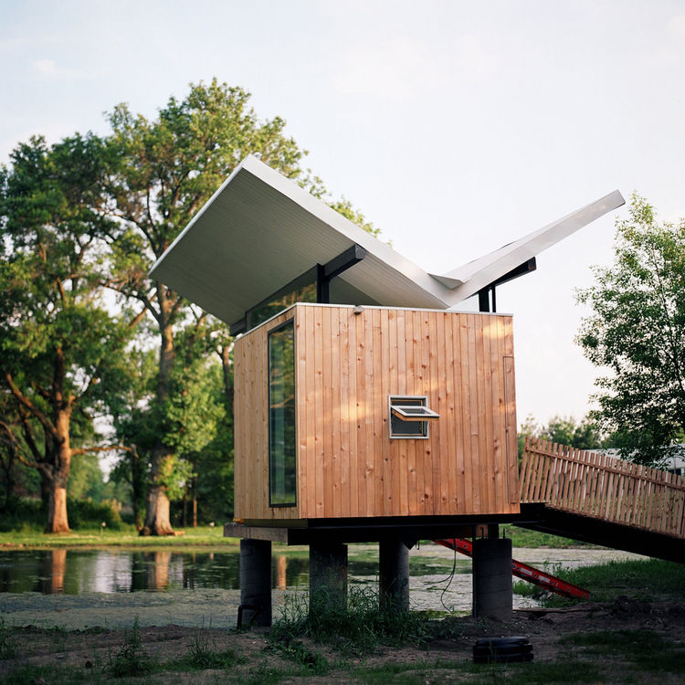 "Designed by architect <a href=""http://www.jefferyspossarchitect.net/"">Jeffery Poss</a>, the tea hut is the first of what Kalanzis and her husband, Bill Cope, hope to be several sculptural structures on their property, which comprises a forested grove to t"