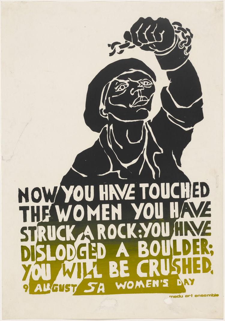 "Medu Art Ensemble (active 1978–1985). <i>You Have Struck a Rock</i>. 1981 Screenprinted poster, sheet: 23 5/8"" × 16 9/16"". Image courtesy MoMA."