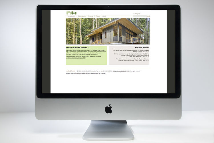 "Method Homes brand design by Autograph and website design in collaboration with <a href=""http://www.metajive.com"">metajive.com</a>"