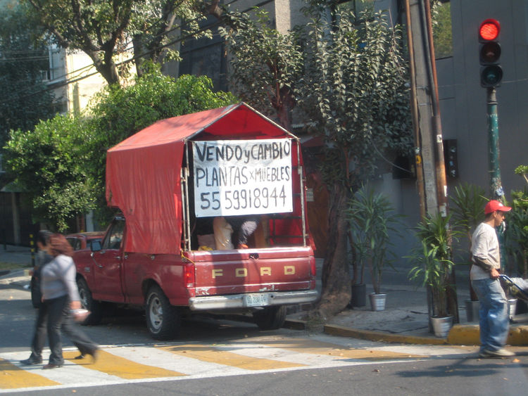 We drove everywhere in Mexico City led by our guide Ana Elena Mallet, a wonderful host and independent design curator. She pointed out this truck, which trades old furniture for plants, and said that it had been on that corner for ages. Seems like rather