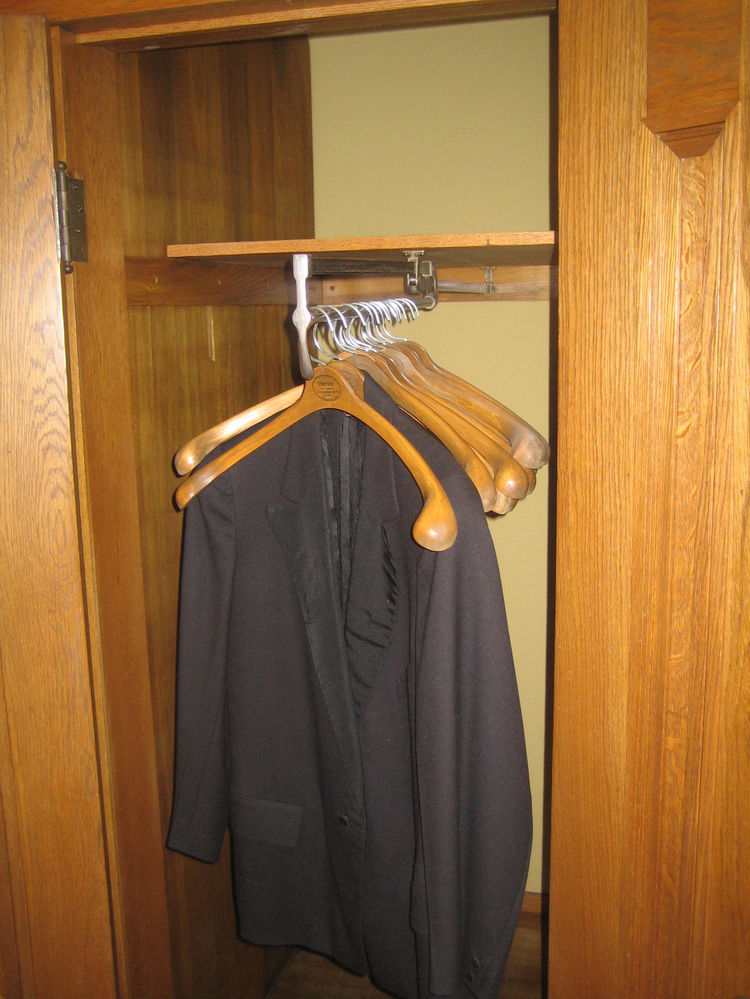 This clothes rack in the hall closet pulls out thanks to a mechanism May used in his store. Wright was such a tyrant when it came to alterations of his design, but as this is an original fixture it looks like the architect made a concession to May's displ