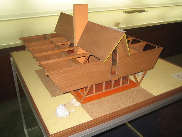 Here's a model of a house that Dow designed for some clients who never ended up building it. One of his daughters later took up the design and now uses it as a beach house. Dow called it the W House.