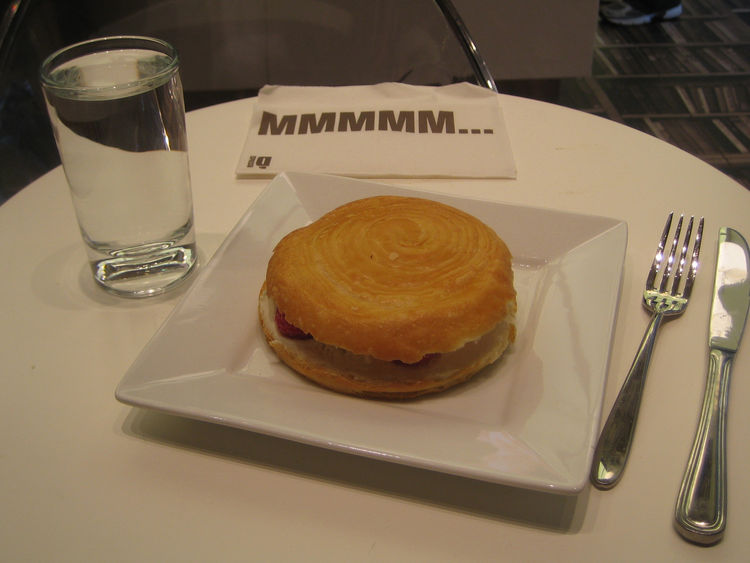 And finally, here's a look at my treat, a ricotta and raspberry pastry sandwich. That napkin says it all.