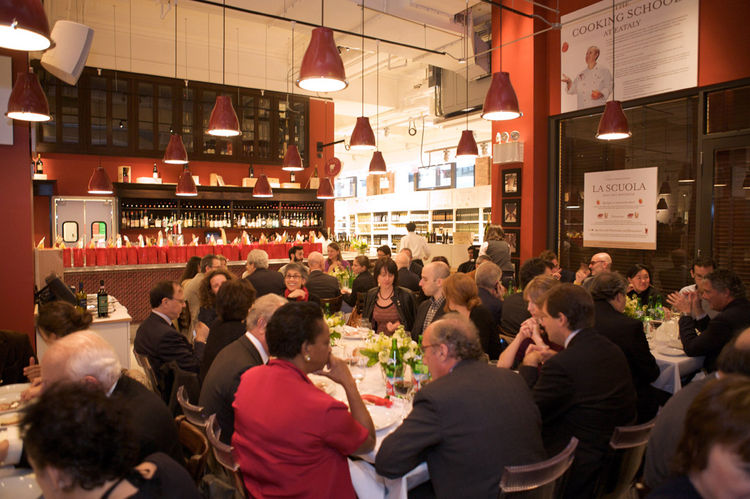 Here's a shot of the assembled gang of Italian design bigwigs, press, and artists at Manzo, Mario Batali's new restaurant at Eataly in New York. It was bright and festive, and I'm still thinking about those agnolotti.