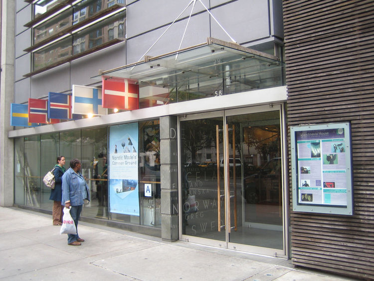 Just around the corner on Park Avenue is Scandinavia House. I'd never been and was happy to pop in. I loved the flags displayed on the exterior as well as the clear nods to Scando design with all the glass and wooden slats.