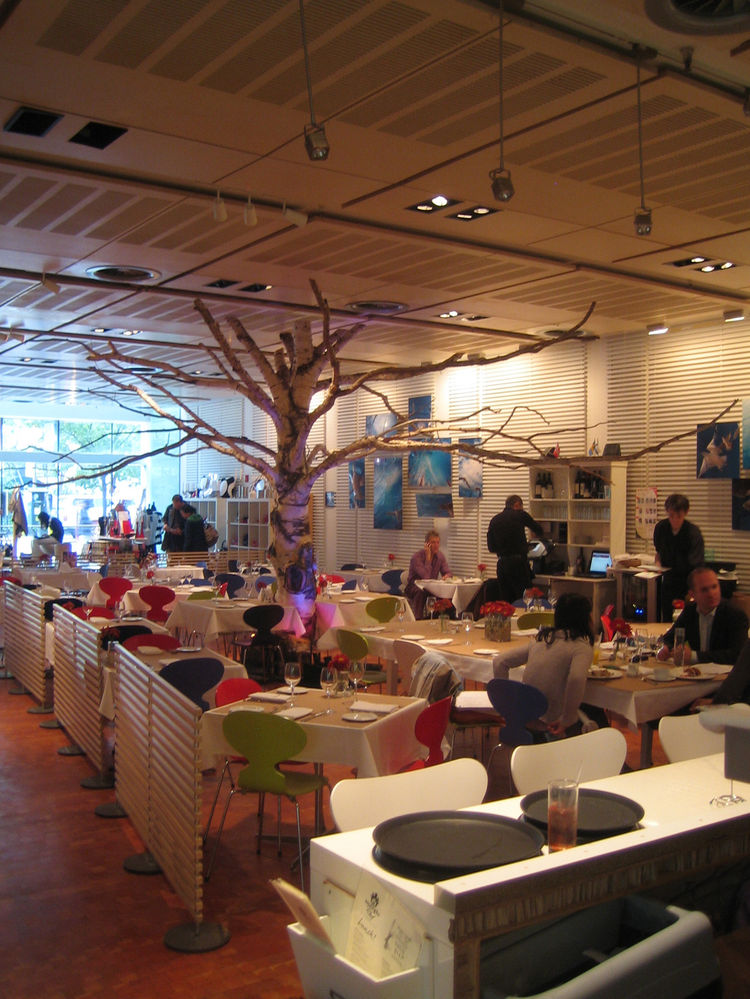 On the ground floor of Scandinavia House is a shop up front and then a charming cafe called Smörgås Chef. Though I did not stop for a bite, I did love the large tree as a design element in the middle.