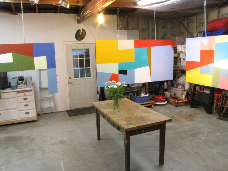 Due to the small size of Cahalan's studio and the large size of the commissioned piece, the mural existed only in pieces until it was installed. The painting palette of Cahalan's mother, also once an artist, hangs over the door of Cahalan's studio.  Photo