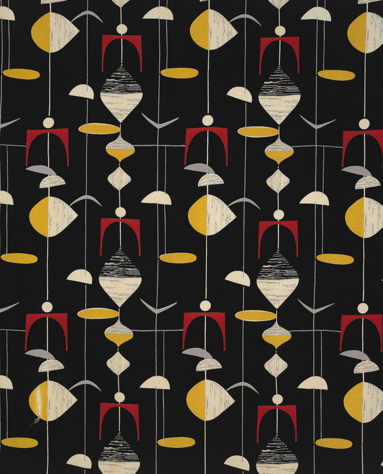 Untitled (Mobiles), (detail) ca. 1952. Marian Mahler. Manufactured by David Whitehead, Ltd. Jill A. Wiltse and H. Kirk Brown III Collection of British Textiles. On display at the Textile Museum in Washington, DC, May 15-September 12, 2010, as part of the