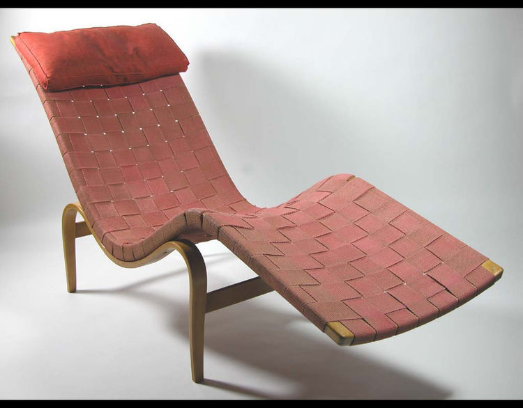Model 36 Lounge Chair made of laminated and solid beech, jute webbing, linen, and leather by Swedish designer Bruno Mathsson in 1936 for Firma Karl Mathsson in Värnamo, Sweden.